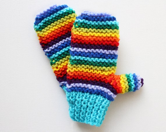 Turquoise Rainbow Pixie Mittens - Childrens' Colourful Rainbow Mittens - Blue and Rainbow Gloves for Children • Colorful gifts for children