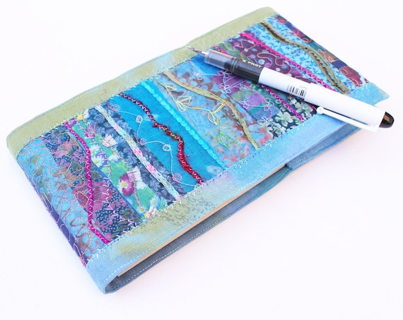 Waterfall Sketchbook Journal - Freestyle Embroidery Notebook - Beautiful, one-of-a-kind Sketchbook - Textile Design Embroidered Blue Journal