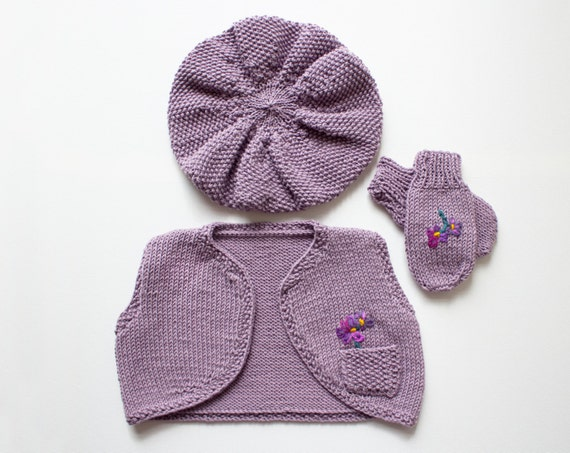 Heather Mist Sunday Best - Merino Cotton Mix Cropped Winter Waistcoat, Beret and Mittens for a Little Girl