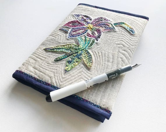 Lily A5 Journal Sketchbook - Neutral Coloured Embroidered Flower Notebook - Floral Design Embroidered Diary Notebook Cover with A5 Journal