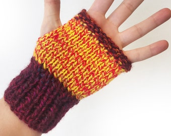 Salsa Buskers' Mittens - Red Fingerless Gloves that fit well with sleeves - Unisex Handwarmer Gloves Fingerless Mittens Mother's Day