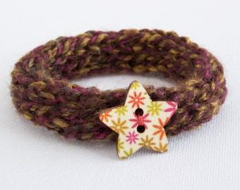 Peppercorn Button Bangle • Stocking Gift • Brown Knit Bracelet Knitted Jewellery • Secret Santa Gifts • Knitted Bracelets •Brown Bangle