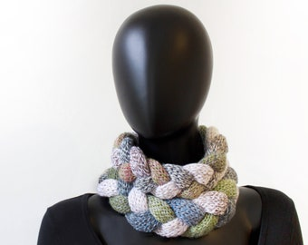 Pebble Braided Cowl Scarf - Cosy Infinity Scarf Stone coloured warm Winter Cowl - cream circle scarf gift for mum sister friend daughter