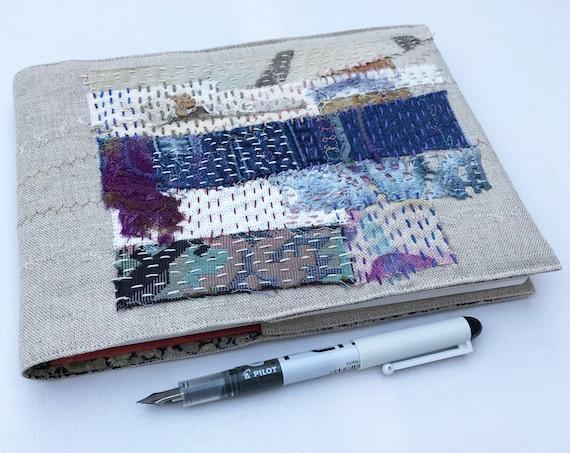 Linen Landscape A5 Sketchbook Journal - Patchwork Embroidered Notebook - Textile Art Book Sketchbook - Neutral coloured Notebook Journal