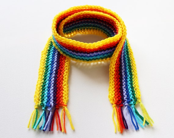 Yellow Rainbow Pixie Scarf - Yellow Rainbow Scarf for a Child - Rainbow Bright Colourful Children's Rainbow Scarves - Kid's Rainbow Scarf