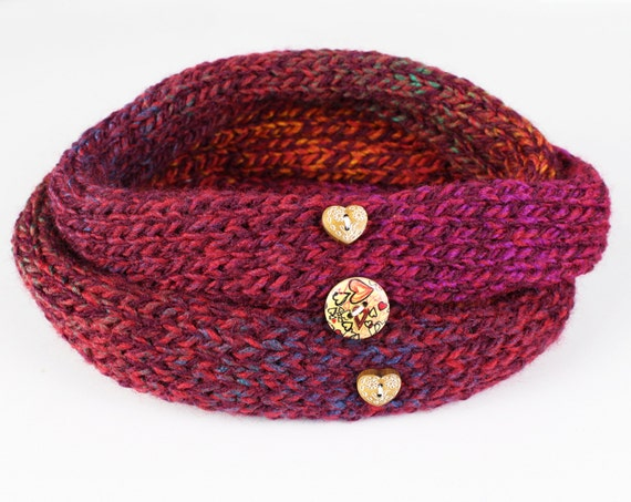 Cranberry Nuzzler - Deep Red Neckwarmer Valentines Circle Scarf for Ladies. Cute red infinity scarf - a perfect stocking filler idea.