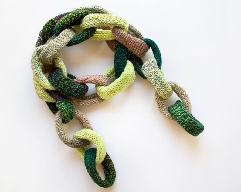 Ivy Green Chain Scarf  Chunky Green Chain Scarf  Chain Link image 0