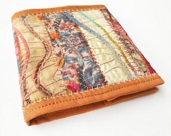 Ginger Orange Pocket Notebook - Small Sketchbook with reusable cover - embroidered travel notebook travelling journal jotter sketchbook pad