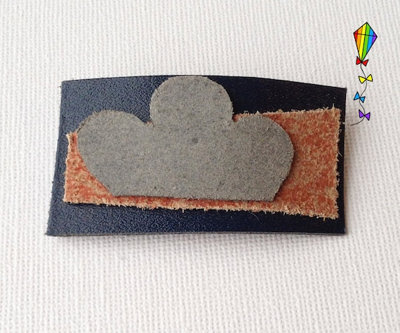 Small Hair Clip made from Reclaimed Leather - Grey Cloud Design