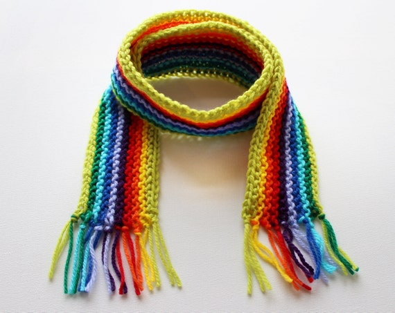 Lime Rainbow Pixie Scarf - Rainbow Childrens Scarf - Colourful Child's Winter Rainbow Scarf • Colourful Rainbow Scarves for Kids