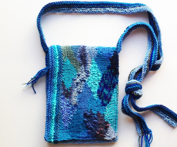 Waterfall Handbag - Beautiful handmade purse with cascade design - Blue knitted handbag in unique pattern design • Blue handbag gift for her