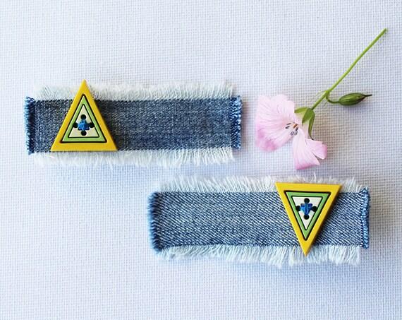 Lemon Triangle Geometric Hair Grips. Pair of citrus hair accessories. Cute little gift!