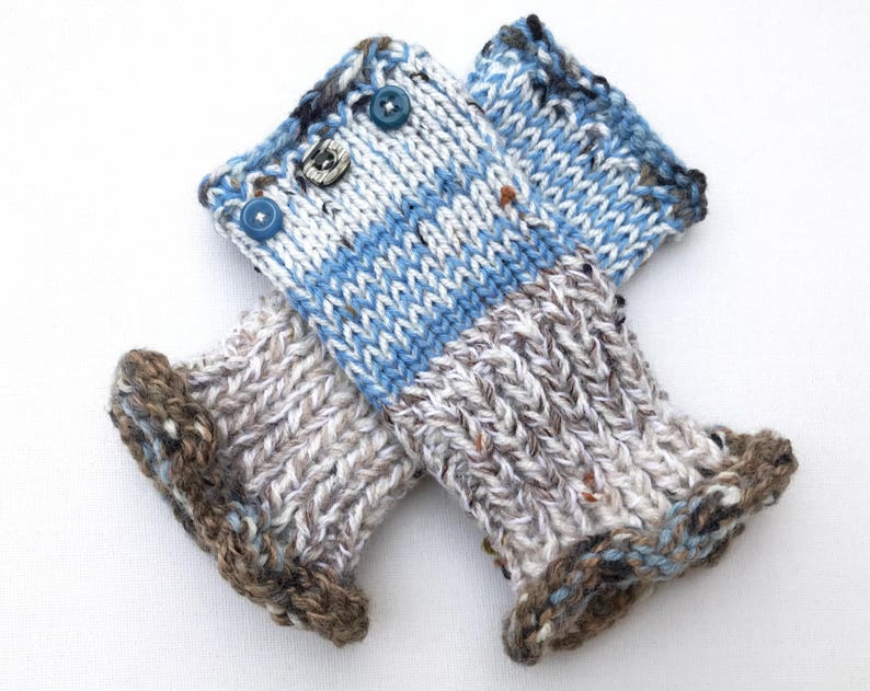 Blue Fingerless Mittens  Frozen Lake Frilly Fingers  Cosy image 0