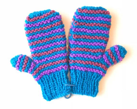 Seaside Stripe Pixie Mittens - Bright Blue Striped Child's Mittens for boy or girl - Blue Child's Gloves - Stripy Unisex Children's Mittens