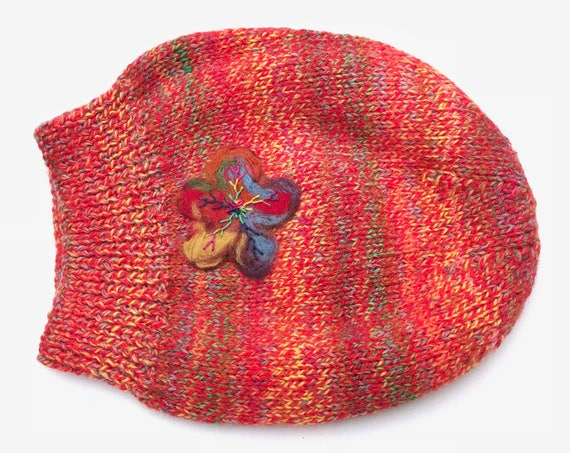 Salsa Slouch Hat  - Bright colourful, warm & cozy Winter Hat - Colourful Slouchy Hat for Winter - Orange slouch hat colourful slouchy hat