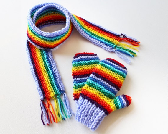 Mauve Rainbow Pixie Set of Gloves and Scarf - Children's Rainbow Gloves and Matching Scarf Outdoor Accessories