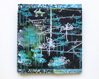 Cow Parsley 22cm Square Large Sketchbook - Blue Denim Notebook with wildflower designs - Reusable Sketchbook Cover Notebook Gift for artist