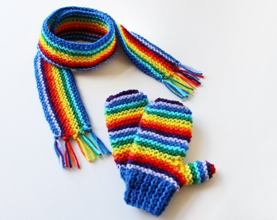 Blue Rainbow Pixie Set of Scarf and Gloves - Children's Rainbow Mittens and Scarf Winter Outfit - Gender-Neutral fashions and gifts for kids