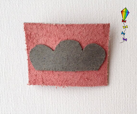 Small Hair Clip made from Reclaimed Leather - Pink Cloud Design