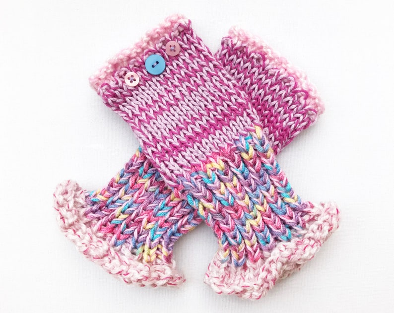 Pink Fingerless Mittens  Sherbet Pink Frilly Fingers  image 0