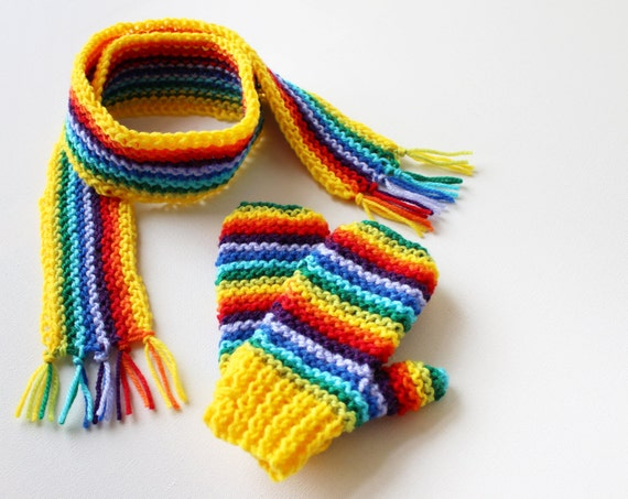 Yellow Rainbow Pixie Set of Scarf and Matching Mittens - Winter Rainbow Gender-Neutral Children's Outfit - Scarf & Matching Mitts for Child
