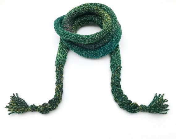Forest Green Spaghetti Scarf - Dark Green Thin Scarf, comfortable easy-to-wear skinny scarf! Spring scarves Rich, Dark Green Spring scarf
