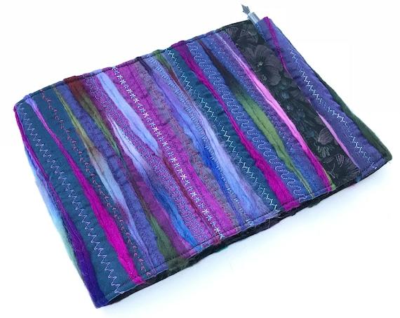 Nightshade Journal A5 Purple Sketchbook - Layered Offcuts Embroidered Notebook - Purple Sketchbook, Textile Sewing Embroidery Purple Journal