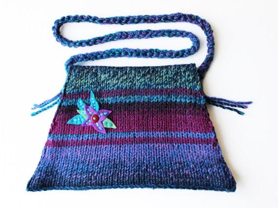 Indigo Bell Bottom Bag - Lotus Flower Design Purple Handbag with Hand-Stitched Felt Flower