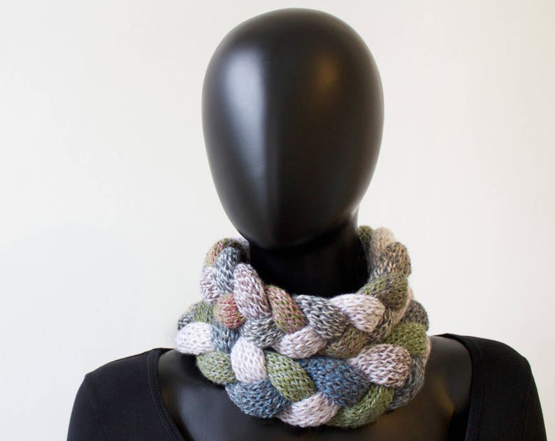 Pebble Braided Cowl Scarf  Chunky Infinity Scarf in Neutral image 0