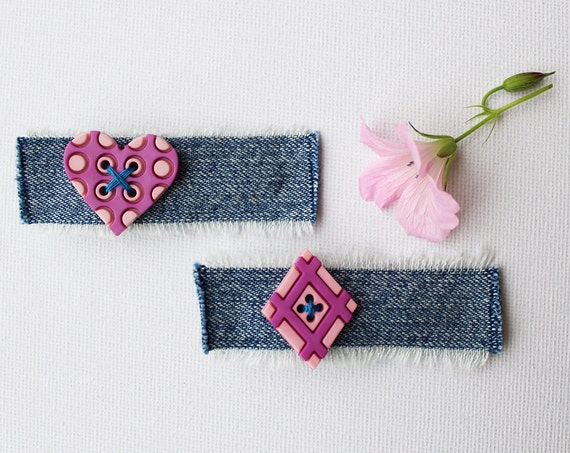 Hair Clips Raspberry Heart & Diamond Hair Clips. Pair of pink hair clips with hearts perfect for Valentines Day! Pink heart hair accessories
