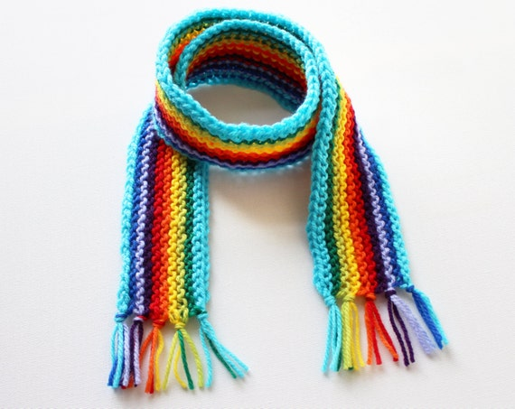 Turquoise Rainbow Pixie Scarf - Rainbow Kid's Scarf - Colourful Knitted Children's Scarves in bright rainbow colours