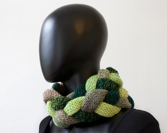 Ivy Braided Cowl - Winter Infinity Scarf Plaited Cowl - Warm Green Cowl Scarf