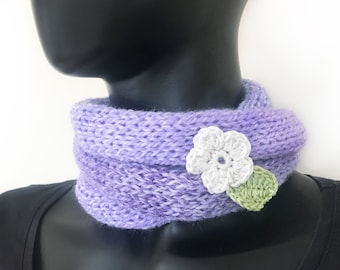 Lilac Nuzzler - neck warmer circle scarf cowl, cute little mauve lavender purple Infinity Scarf - cute gift for mum sister friend daughter