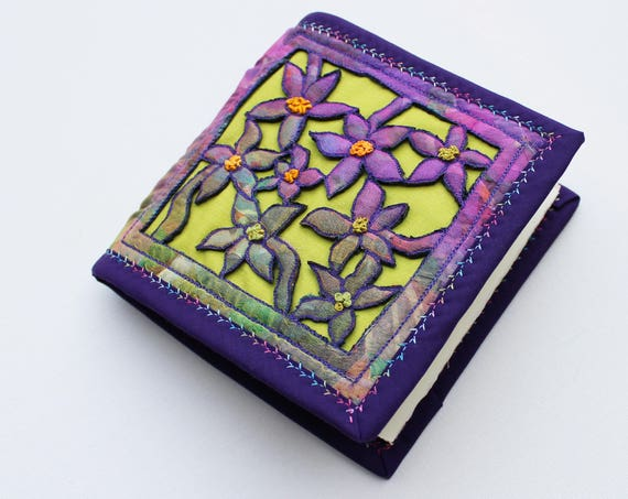Purple Clematis Notebook - Beautiful handmade sketchbook with purple & green flowers embroidery - Gift for mom, gift for sister, art journal