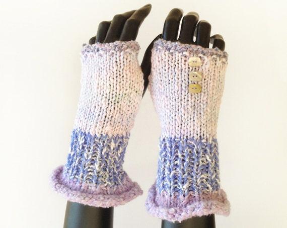 Fondant Frilly Fingers - Fingerless Gloves Light Purple and Pink Fingerless Wrist Warmers