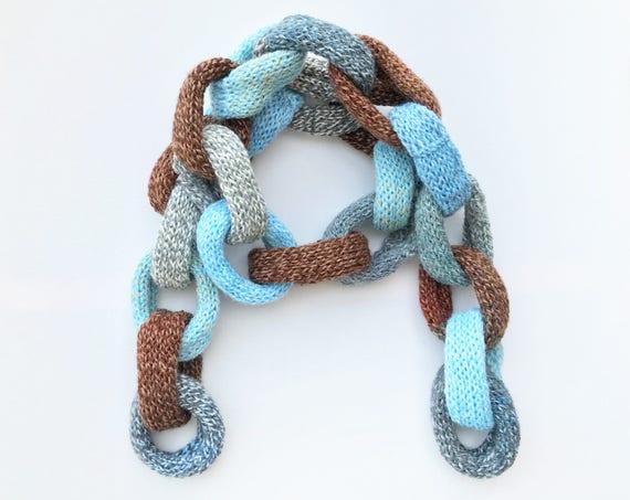 Earl Grey Chain Scarf - Chunky Grey Blue Chain Scarf - Chain Link Scarf in blue, brown, & gray - Grey Scarf Original Designer Chain Scarves