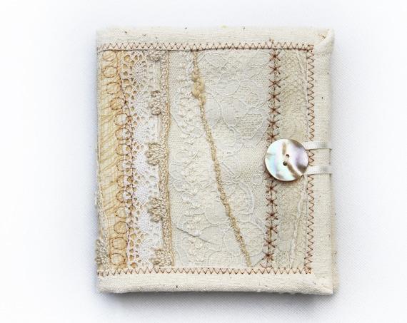 Ivory Cream Needle Book • Neutral Embroidery needlework case Embroidered Cream Needle Books Sewing organisation needle case white needlebook