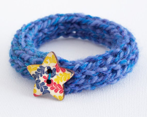 Cornflower Button Bangle • Stocking Stuffers, Blue Bracelet Knitted Bangles • Secret Santa Gifts • Knitted Blue Bracelets • Cute Blue Bangle