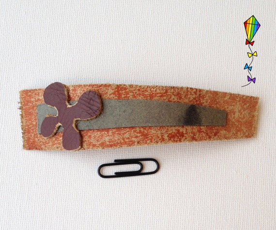 Slim Medium Hair Clip made from Reclaimed Leather - Purple Clover Design