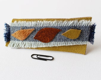 Seasons Medium Chunky Hair Clip - Reclaimed Leather and Denim Handmade Hair Barrette Accessory Mother's Day