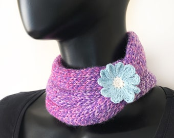 Blossom Pink Nuzzler - Pink Neckwarming Infinity Scarf blue flower - neck warmer small circle scarf cowl stocking filler gift for sister mum