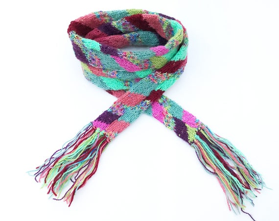 Spring Stripes Skinny Scarf - Spring Scarves handmade from upcycled offcuts, Small Multicoloured Scarf Stripy Scarf - Recycled Thin Scarf