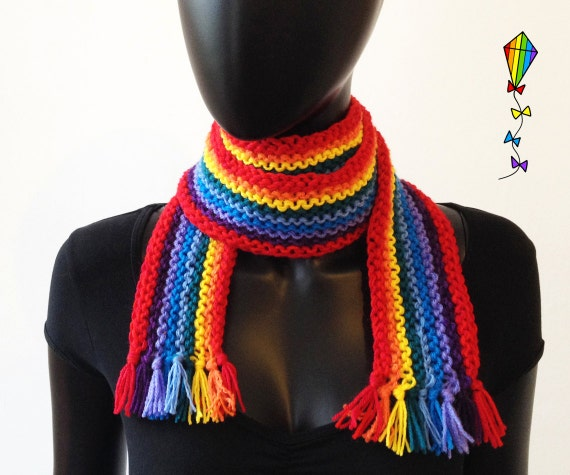 Rainbow Scarf - Adult Classic Scarf Colourful Knitted Scarf - Funky Winter Scarf for Adults