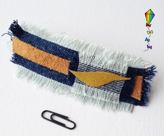 Large Hair Clip Denim & Reclaimed Leather - Little Leaf Design