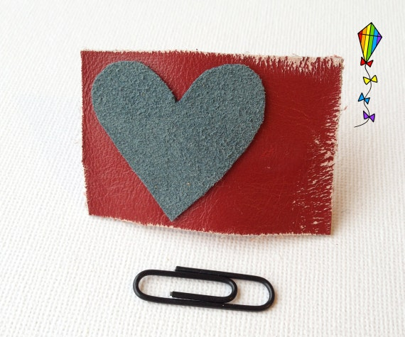 Small Hair Clip made from Reclaimed Leather -Valentines' Love Heart Hair Clip