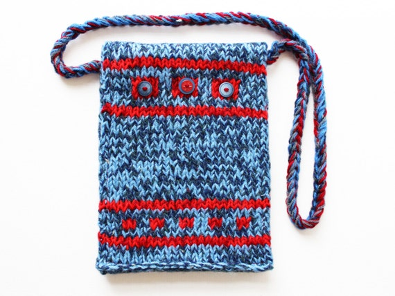 Stars and Stripes Button Bag - Knitted Handbag - American Theme Red and Blue Handbag with Decorative Buttons