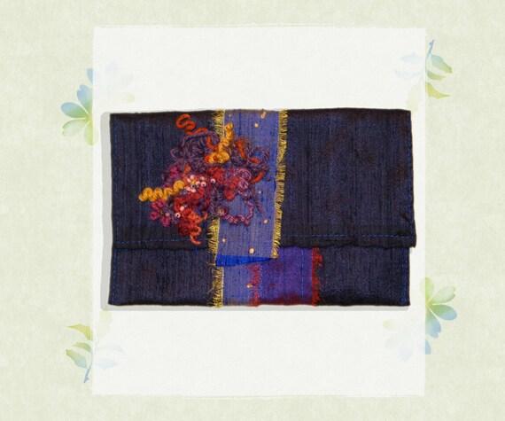 Indian Silk Purse - Indigo Clutch Bag - Elegant Clutch Evening Wear Handbag - Delicate Silk Purse in Indigo Purple Blue Shades with Beading