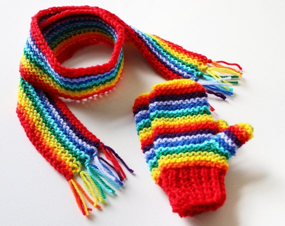 Red Rainbow Pixie Set of Gender Neutral Mittens and Scarf - Rainbow Children's Winter Outfit - Colourful Classic Scarf and Mittens for Kids
