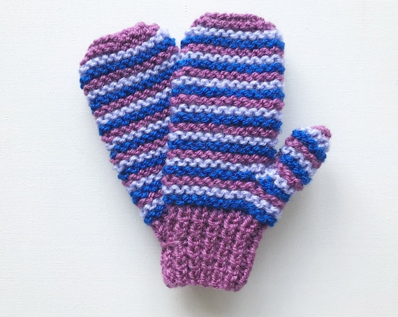 Plum Pixie Mittens - Pink, Purple and Blue Striped Child's Mittens for boy or girl - Plum Child's Gloves - Stripy Unisex Children's Mittens