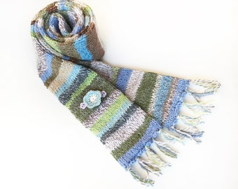 Snowdrop Eco Scarf - Green, White, Brown and Blue Scarf made from upcycled leftover pieces of yarn - recycled scarf with buttons flower